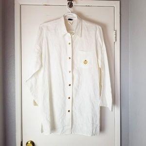 Ralph Lauren Vintage White Linen Long Sleeve Loose